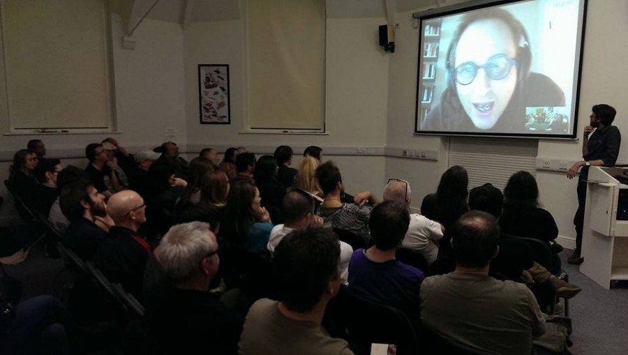 "Jon Ronson answering audience questions at the Frank screening. He later tweeted that ""a middle aged man on Skype always looks a bit like someone from Paedophile Hunter."" We'll let you, dear reader, be the judge of that."